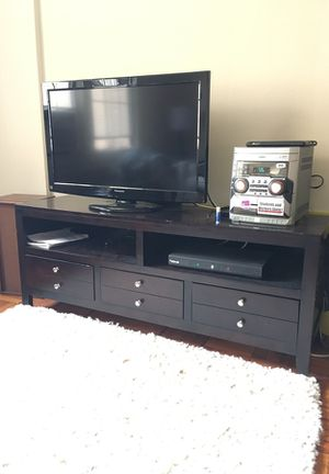 Solid dark wood media console for Sale in Washington, DC