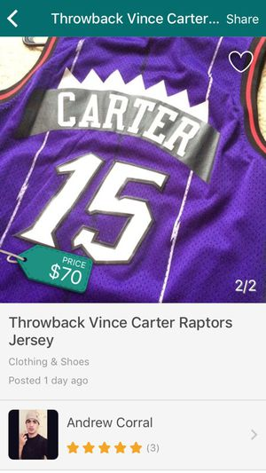 best cheap 980b1 056d9 Vince Carter Throwback jersey Raptors for Sale in West Sacramento, CA -  OfferUp