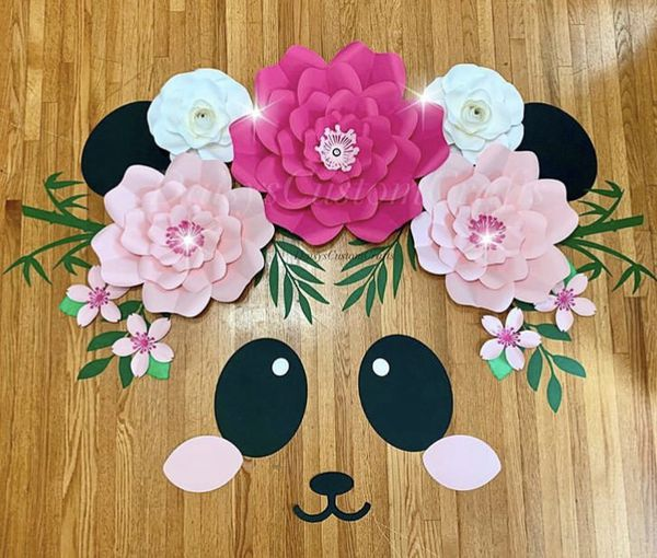 Blushing Panda Paper Flowers Backdrop Birthday Sweet Sixteen Quinceanera Baby Shower Bridal Shower Gold Rose Pink Gold Leaves For Sale In Downey Ca