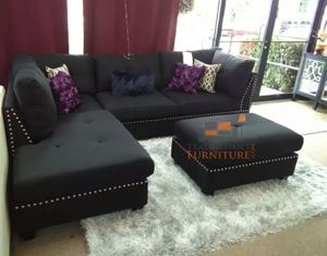 Brand New Black Linen Sectional Sofa Couch + Ottoman for Sale in Washington, DC