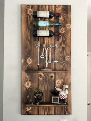 Rustic wooden shelf and wine rack for Sale in Sterling, VA