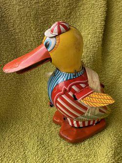 Rare 1940s Daito Tin Litho Friction Toy Duck Japan Nice Bright Colors Thumbnail