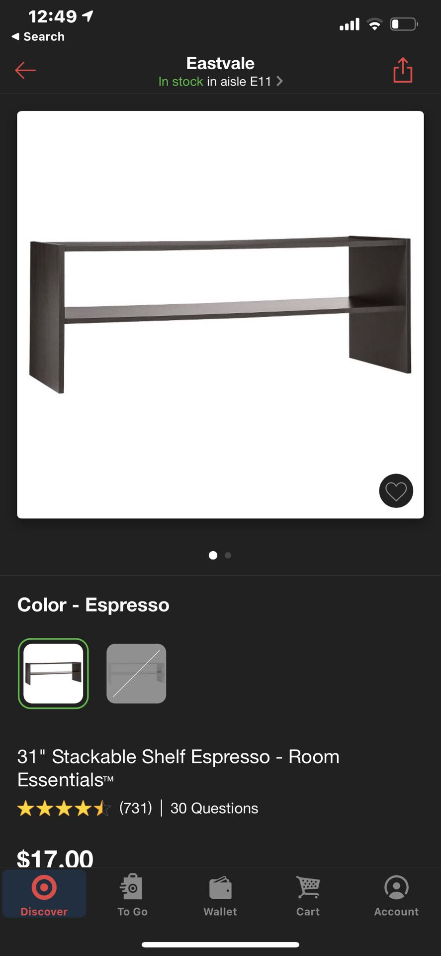 31 inch stackable south espresso will essentials Currently and Retails for $17.00
