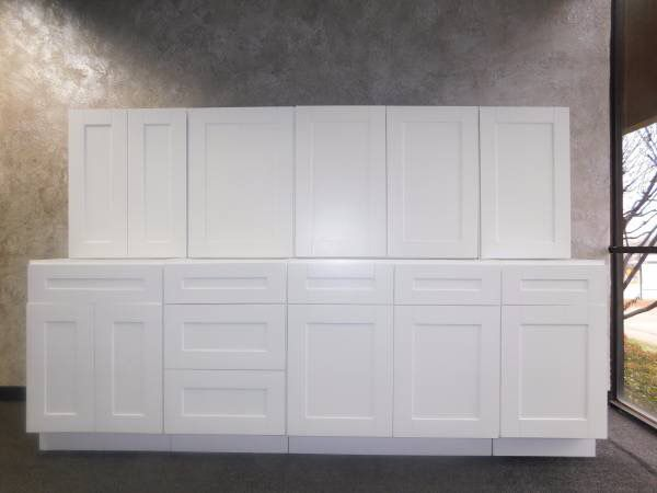 Brand New Overstock Leftover White Shaker Kitchen Cabinets ...
