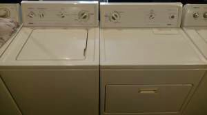 Super clean washer/dryer set with one year warranty! for Sale in Seattle, WA