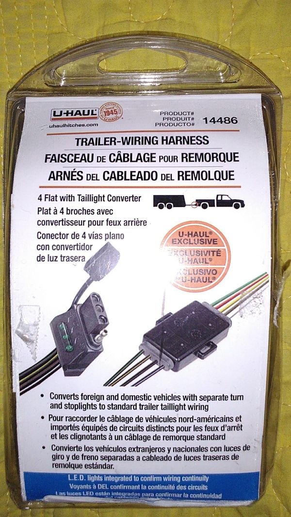 Trailer Wiring Harness 4 flat with taillight converter for Sale in on u-haul trailer light harness, camper wiring harness, toyota wiring harness, u-haul wiring harness diagram, diesel wiring harness, u-haul trailer wiring kit, u-haul wiring adapter,