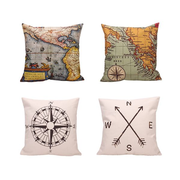 Pillows And More Geography Theme Throw Pillow Covers Home Decorative - Decorative maps for sale
