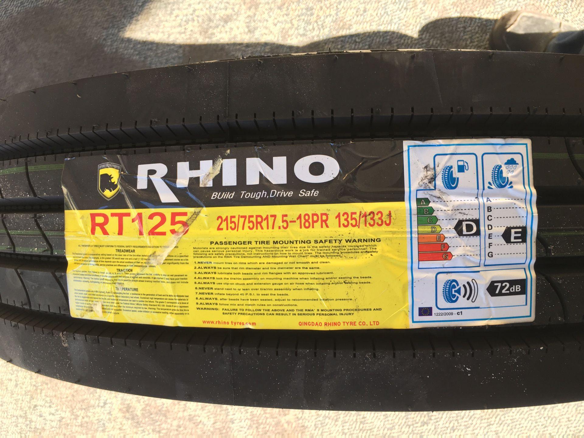 215/75/17.5 - Rhino Tire 16 Ply