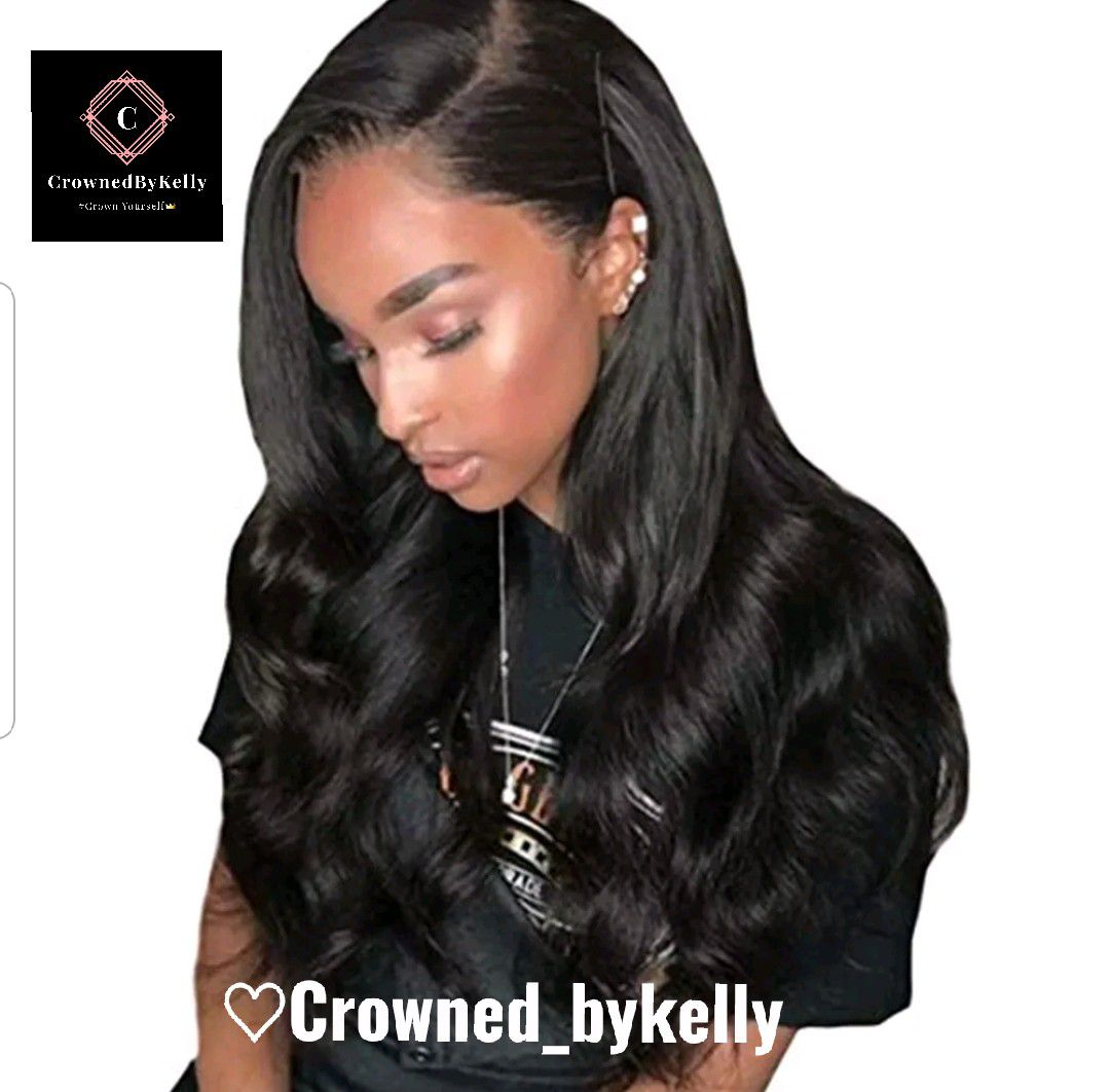 naural black synthetic humn hair fiber heat resistant lace front wig $73.00