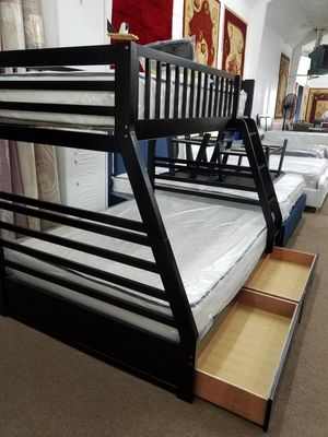 New in box dark espresso twin full bunk bed includes storage units and mattresses for Sale in Takoma Park, MD