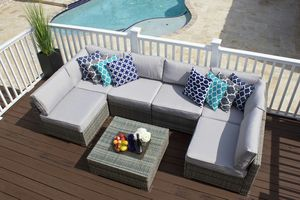 NEW Outdoor Patio Furniture 7 Piece Sectional Sofa Set in Gray Wicker with Cushions for Sale in Miami, FL