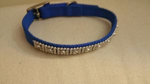 Blue white rhinestone medium dog / cat pet collar for Sale in Columbus, OH