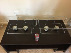 Two wire stands for full size disposable pans with 7 dish fuel (Canned Heat) for Sale in Bristow, VA