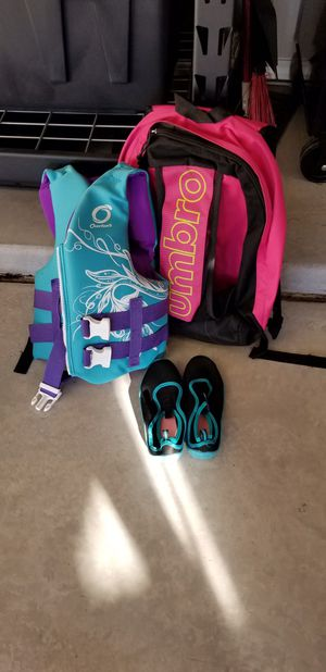 Photo Ski Vest, Water Shoes, and Soccer Backpack