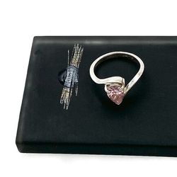 Vintage 925 Sterling Pear Cut Pink Cubic Zirconia Solitaire Minimalist Bypass Ring Signed, Engagement Prom Thumbnail