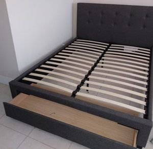 Brand New Queen Size Grey Upholstered Platform Bed w/Storage Drawer for Sale in Silver Spring, MD