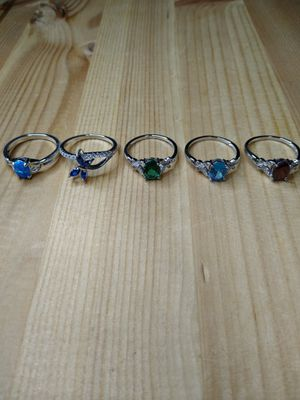 Photo Ladies Choice of 1 ring,925 Sterling Silver Double butterfly, Butterfly, and Blue Opal.size 7.