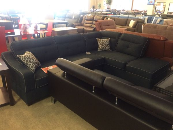 Navy Blue Fabric Sectional Sofa W/ Storage Chaise for Sale in ...
