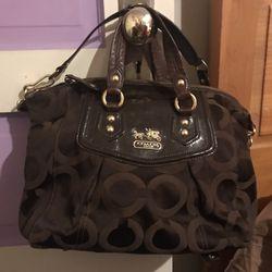 Coach Madison Op Art Audrey Khaki/Dark Brown Bag Thumbnail