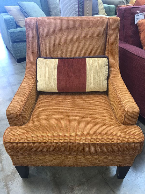 Orange Accent Chair With Bolster Pillow 39 Plus Tax For