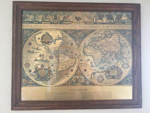 Beautiful Blaeu Wall Map in frame. for Sale in Bonita, CA - OfferUp