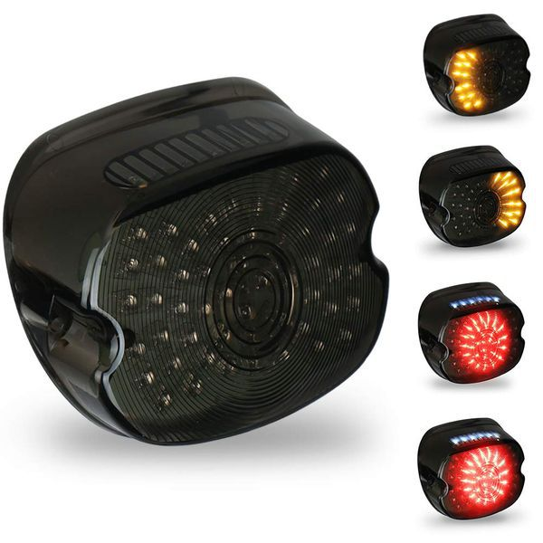 Smoked Harley Led Tail Light Lay Down Tail Lamp With Braking Turn Signal For Sportster Dyna Fxdl