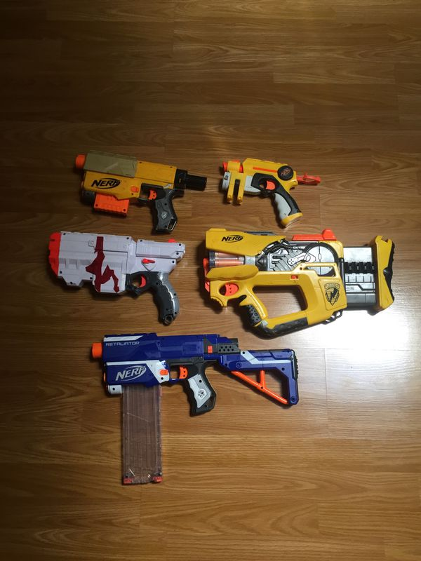 Nerf guns, Minecraft sword, and other toy guns for Sale in