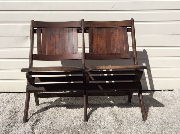 Antique Heywood Wakefield Folding Wood Tandem Benches (Furniture) in Los  Angeles, CA - OfferUp - Antique Heywood Wakefield Folding Wood Tandem Benches (Furniture) In