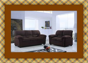 Chocolate microfiber sofa and love seat with free delivery for Sale in McLean, VA
