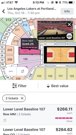 Blazers vs lakers 10/18 for Sale in Portland, OR