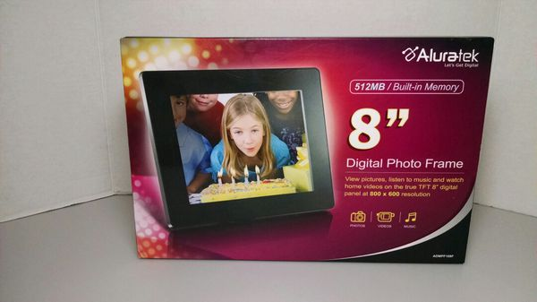 Aluratek 8 Hi Res Digital Photo Frame W512mb Built In Memory