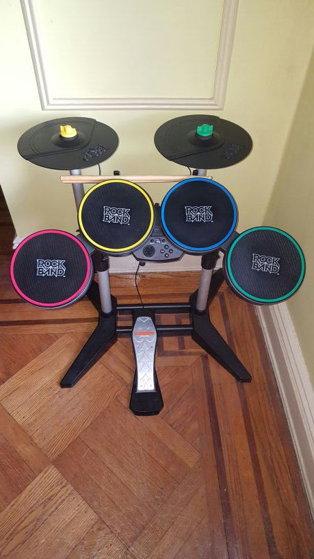 PS3 Rock Band Drums set (Including 2 cymbals, 4 drum silencers, 2 mics and  3 games  It can be use for PS4 ) for Sale in Jersey City, NJ - OfferUp