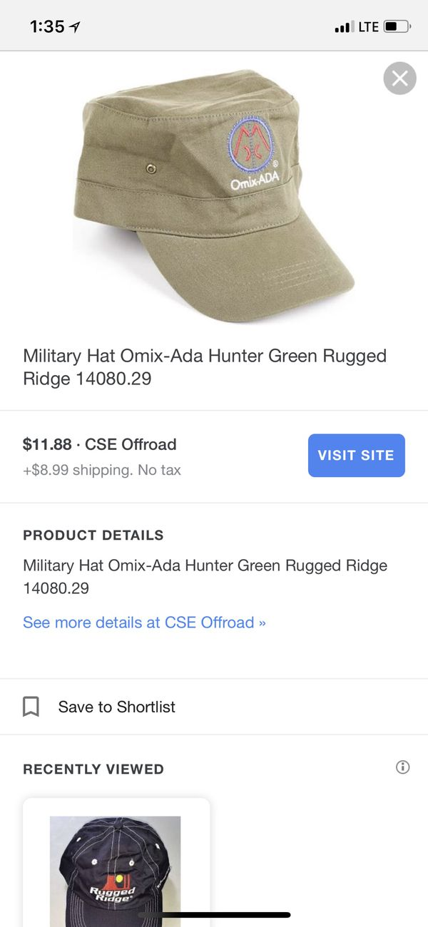 0bd02067599 Jeep Military Hat Omix-Ada Hunter Green Rugged Ridge 14080.29 for Sale in  Miami