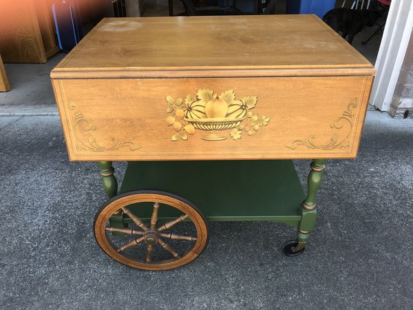 Vintage Drop Leaf Wooden Tea Cart For Sale In Monmouth Or Offerup