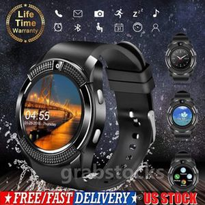 Photo V8 Bluetooth Smart Watch Touch Screen Wristband Fitness Tracker For iOS Android