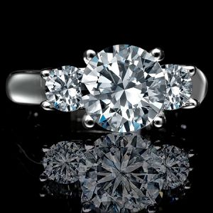 2.5 ct round (2 ct center) three (3) stones ring simulated diamond engagement ring, simulated diamond wedding Sterling Silver ring 635R71261 for Sale in San Francisco, CA