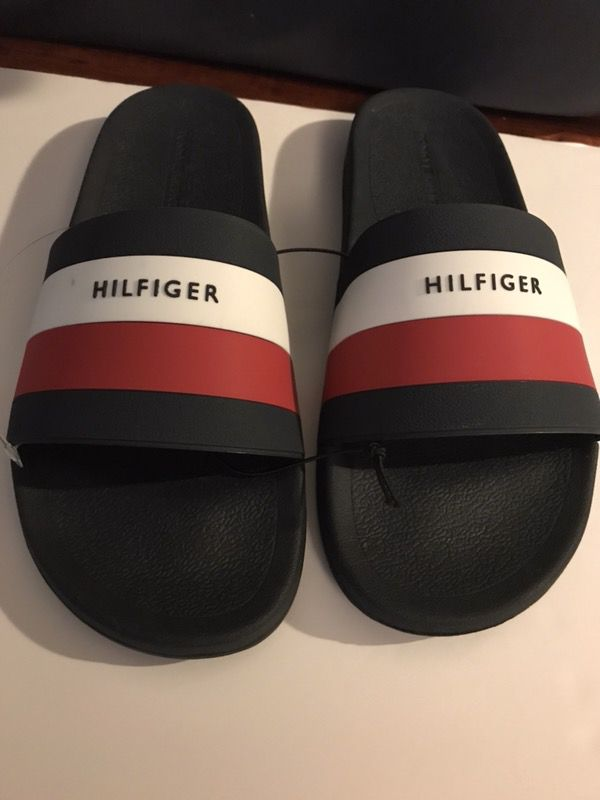 4bb9ca00a Tommy Hilfiger Slides Blue Bottom Sandal Navy Red White Flip Flops Men s  Size 11 or Size 10