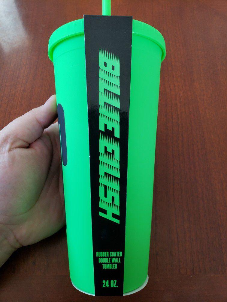 Billie Eilish Green Black Water Bottle Tumbler Cup 24oz.