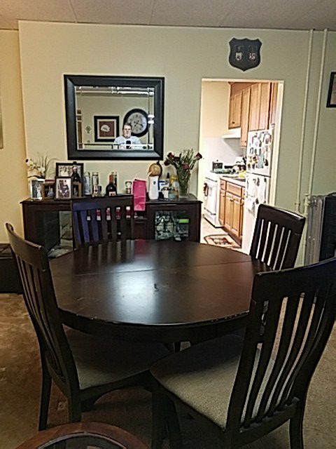 Table And 4 Chairs With Dining Buffet 350 Dollars For Both Furniture In Queens NY