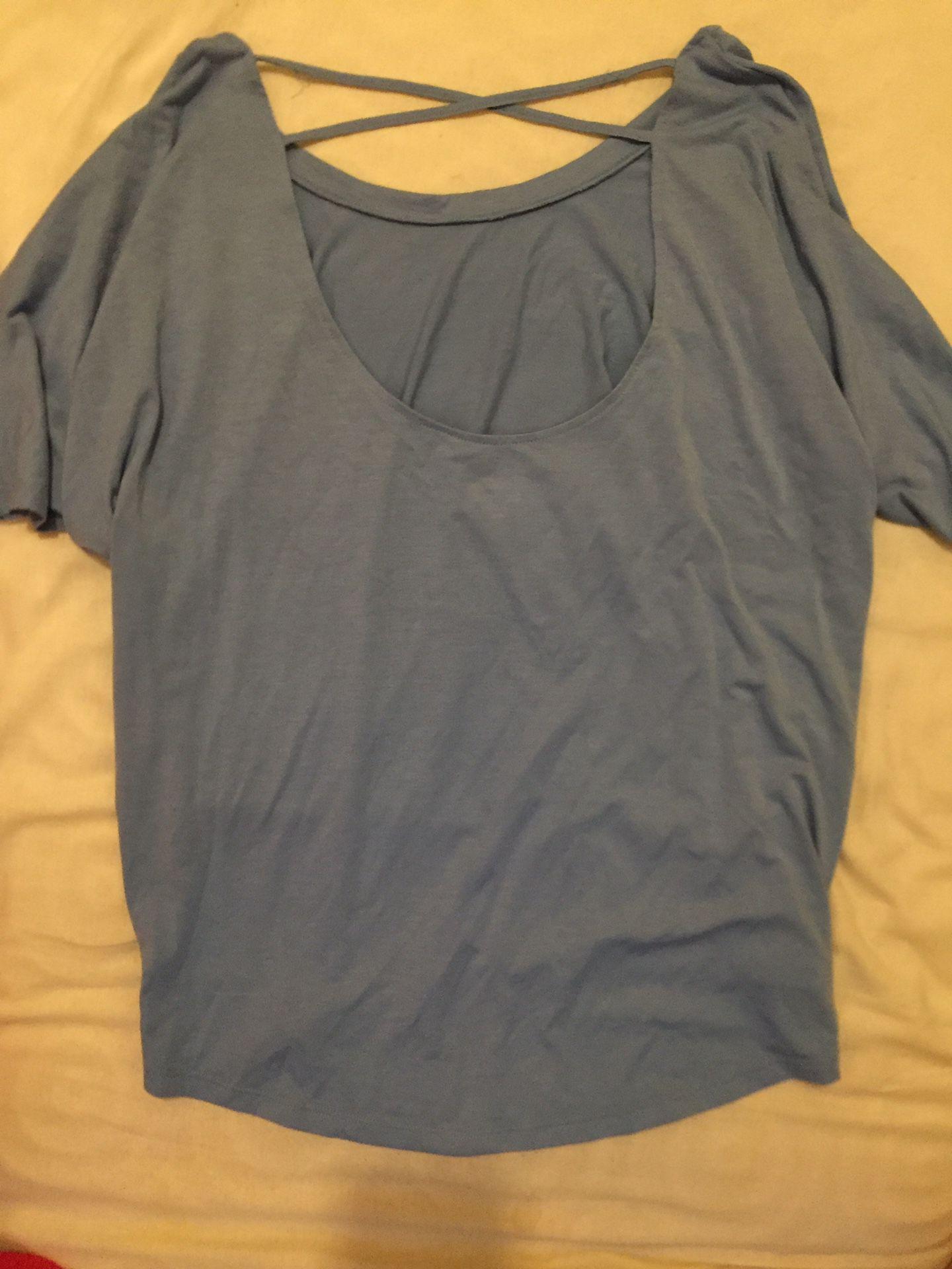 Blue Size Medium Shirt Cross Back