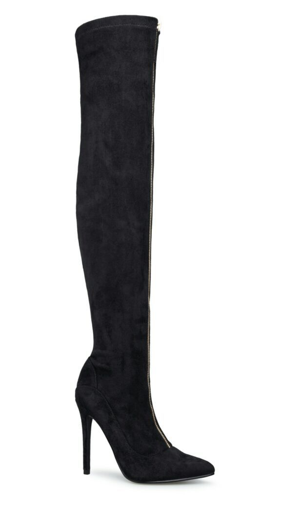 Sz. 9 over the knee boots blk/gold