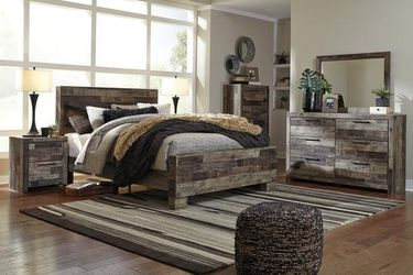 SAME DAY DELIVERY 💳New Ashley Dark Gray Panel Bedroom Set》Queen, King 💳Bed, Dresser, Mirror, Nightstand included. Thumbnail