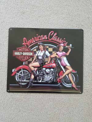 Harley Davidson motorcycle bike classic pinup pin up girl metal sign for Sale in Vancouver, WA