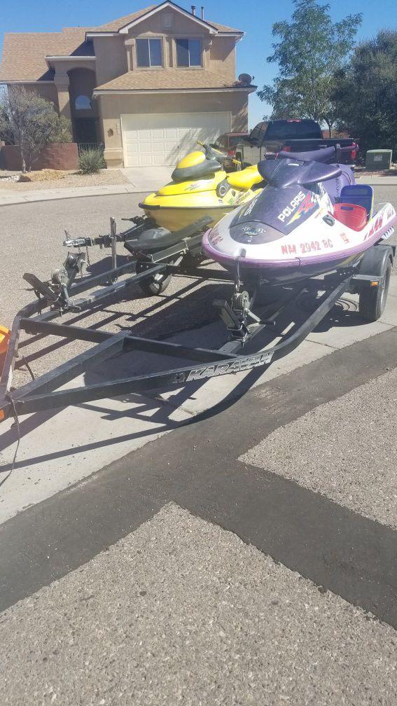 2 jet skis with double jetski trailer