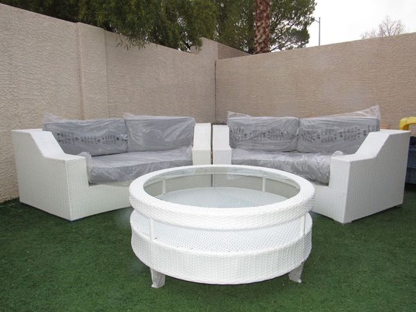New Round White Virofiber Outdoor Wicker Sectional Sofa Patio Furniture  Gray Cushions for Sale in Las Vegas, NV - OfferUp