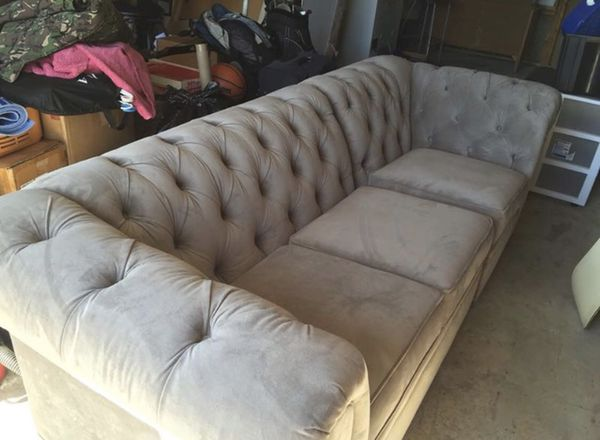 Chesterfield Upholstered Grey Sofa From Pottery Barn For