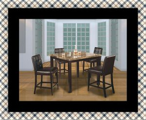 Marble tall table with 4 leather chairs for Sale in Takoma Park, MD