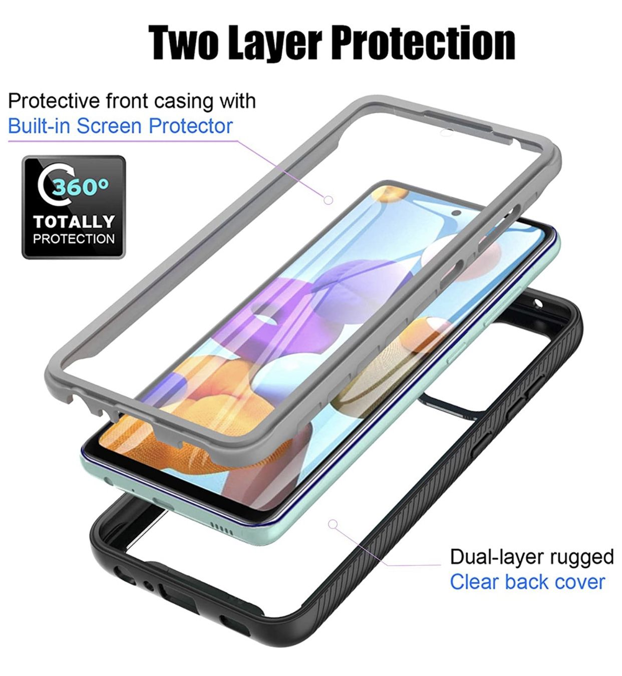 """Samsung A52 5g Case 6.5"""", 360 Full-Body Protective Built-in Screen Protector Dustproof Shockproof Anti-Scratch Cover Case Compatible with Samsung Gala"""