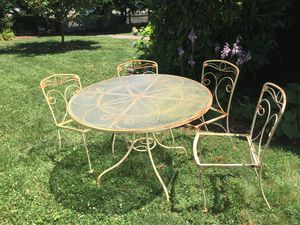 Iron & glass top patio set w/ 4 chairs for Sale in Alexandria, VA