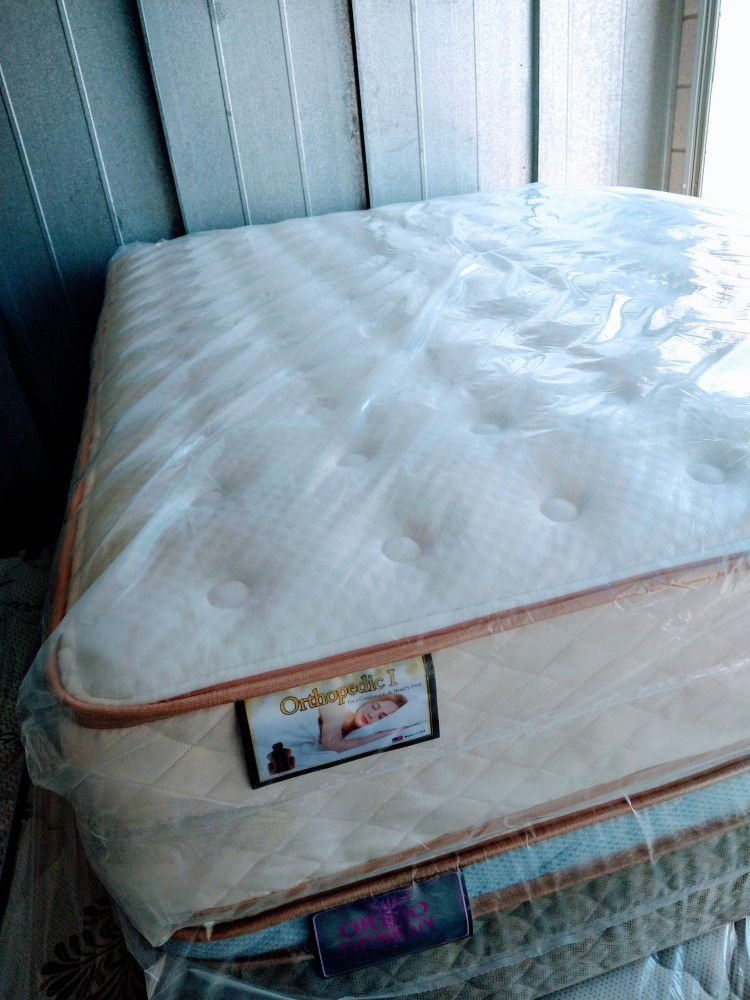 Queen Set Mattress Regular One Sided Orthopedic Brand New With Box Spring